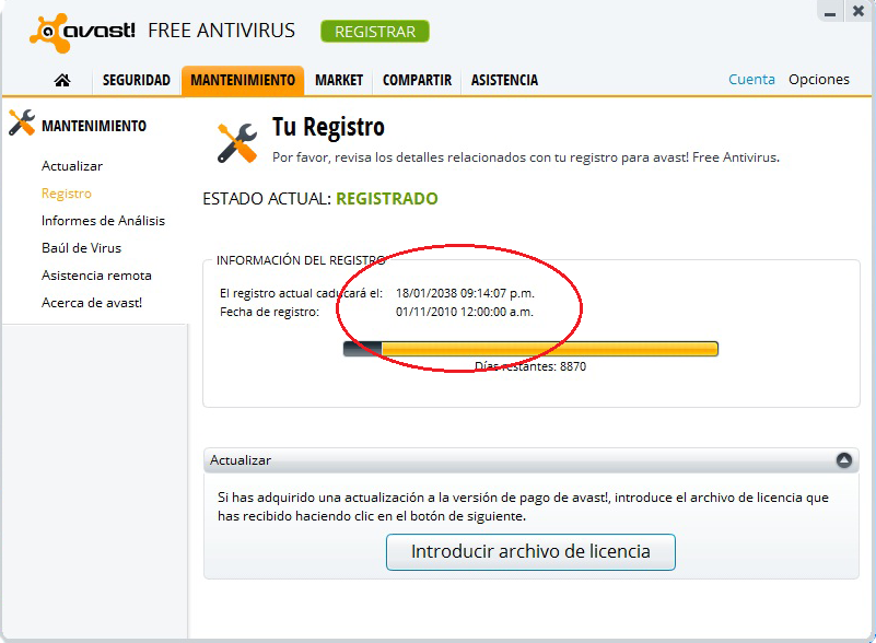 descargar avast free antivirus licencia 2038